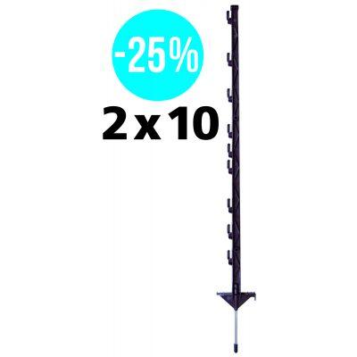 Promotie Duopack vario paal 1,00m 2 x 10 stuks terra