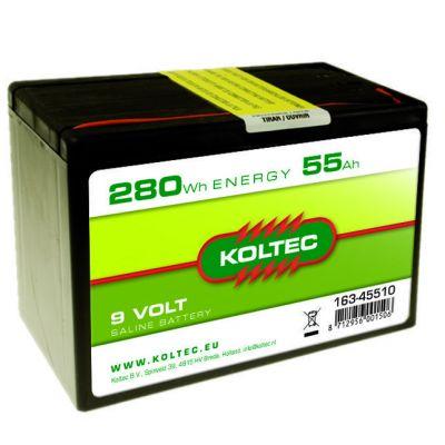 Koltec Batterij 9 Volt - 280 Wh 55 Ah, zink-kool