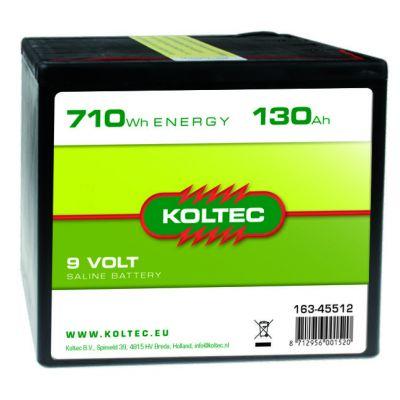 Koltec Batterij 9 Volt - 710 Wh 130 Ah, zink-kool