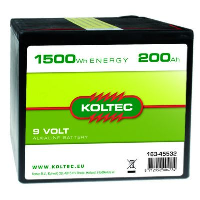 Koltec Batterij 9 Volt - 1500 Wh 200 Ah, alkaline