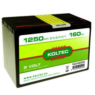Koltec Batterij 9 Volt - 1250 Wh 160 Ah, alkaline