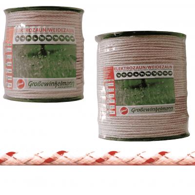 Growi Passero gevlochten koord 6 mm wit / rood,